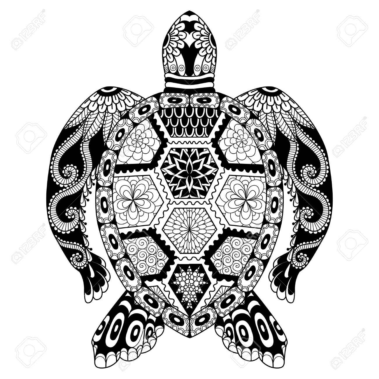 Drawing Zentangle Turtle For Coloring Page Shirt Design Effect Logo Tattoo And Decoration