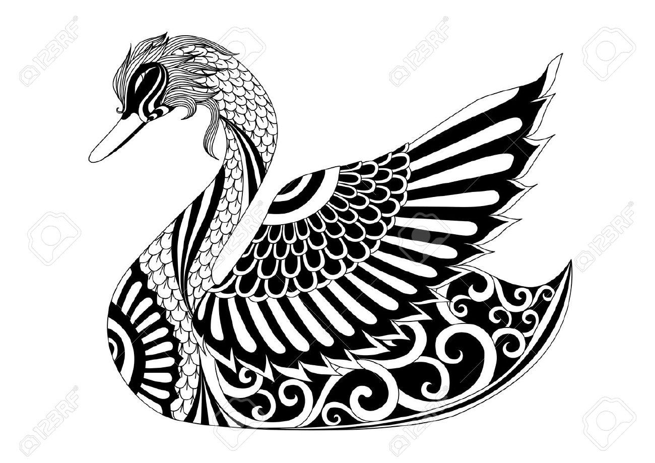 Zeichnung Schwan Für Malvorlagen, Shirt-Design-Effekt, Logo, Tattoo ...
