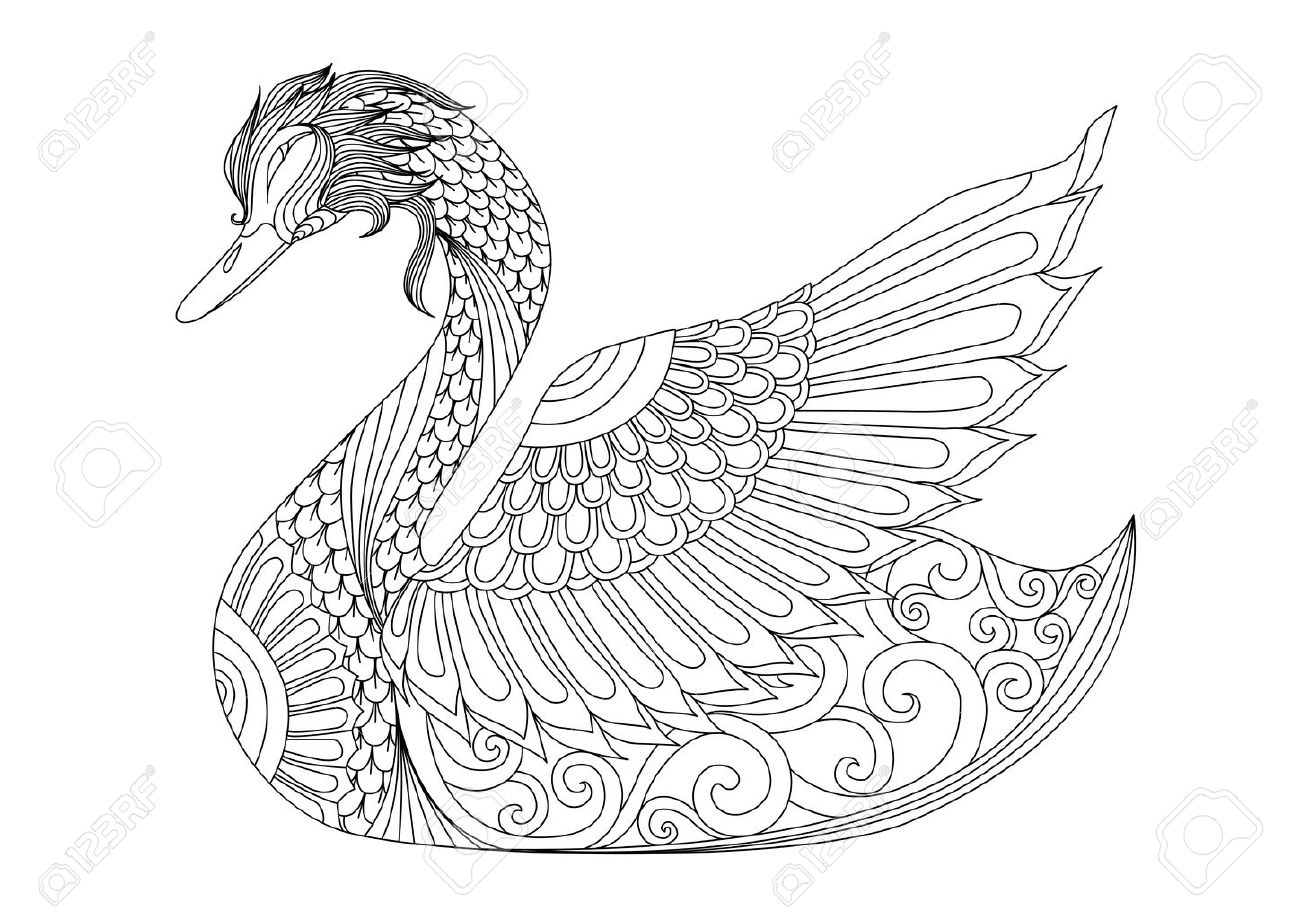 Drawing Swan For Coloring Page, Shirt Design Effect, Logo, Tattoo And  Decoration.