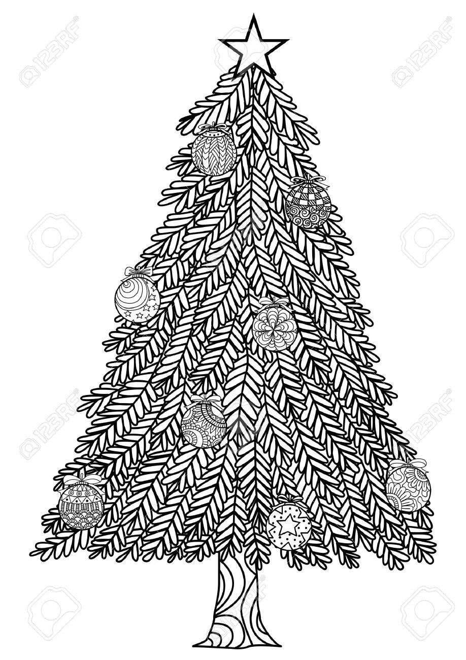 Hand Drawn Christmas Tree Zentangle Style With Christmas Balls ...