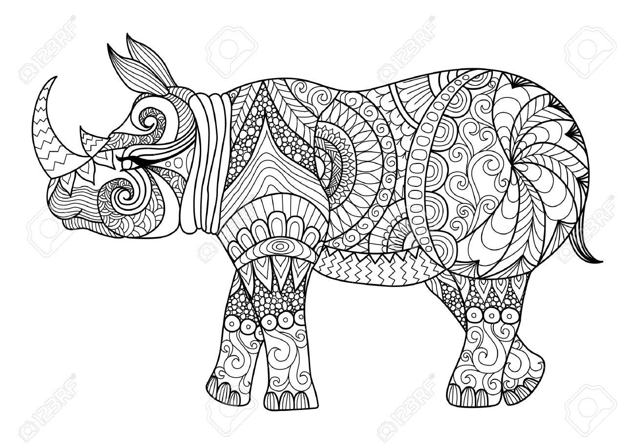 Coloring pages zentangle - Drawing Zentangle Rhino For Coloring Page Shirt Design Effect Logo Tattoo And Decoration