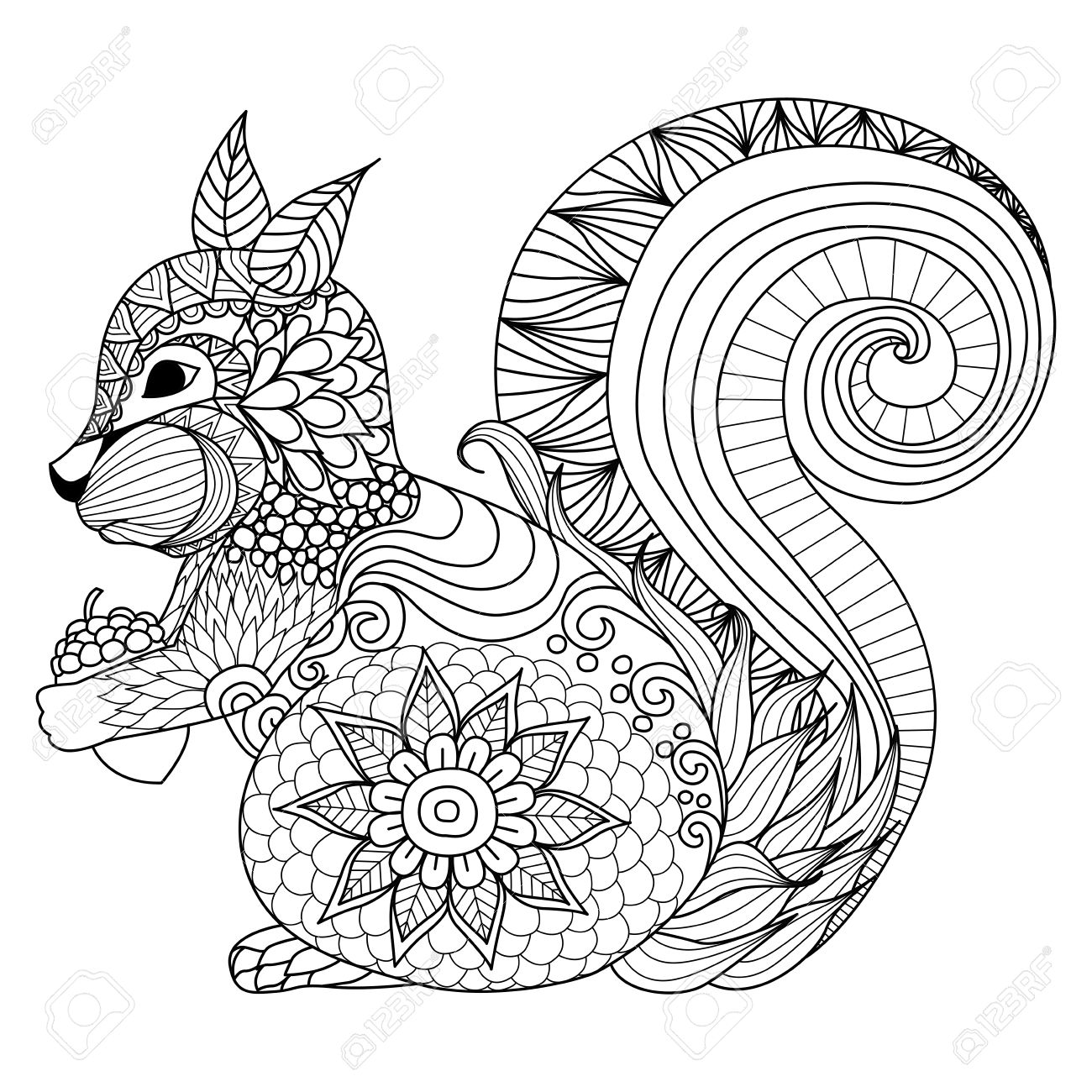 Tattoo designs coloring book - Hand Drawn Squirrel Zentangle Style For Coloring Book Tattoo T Shirt Design Logo