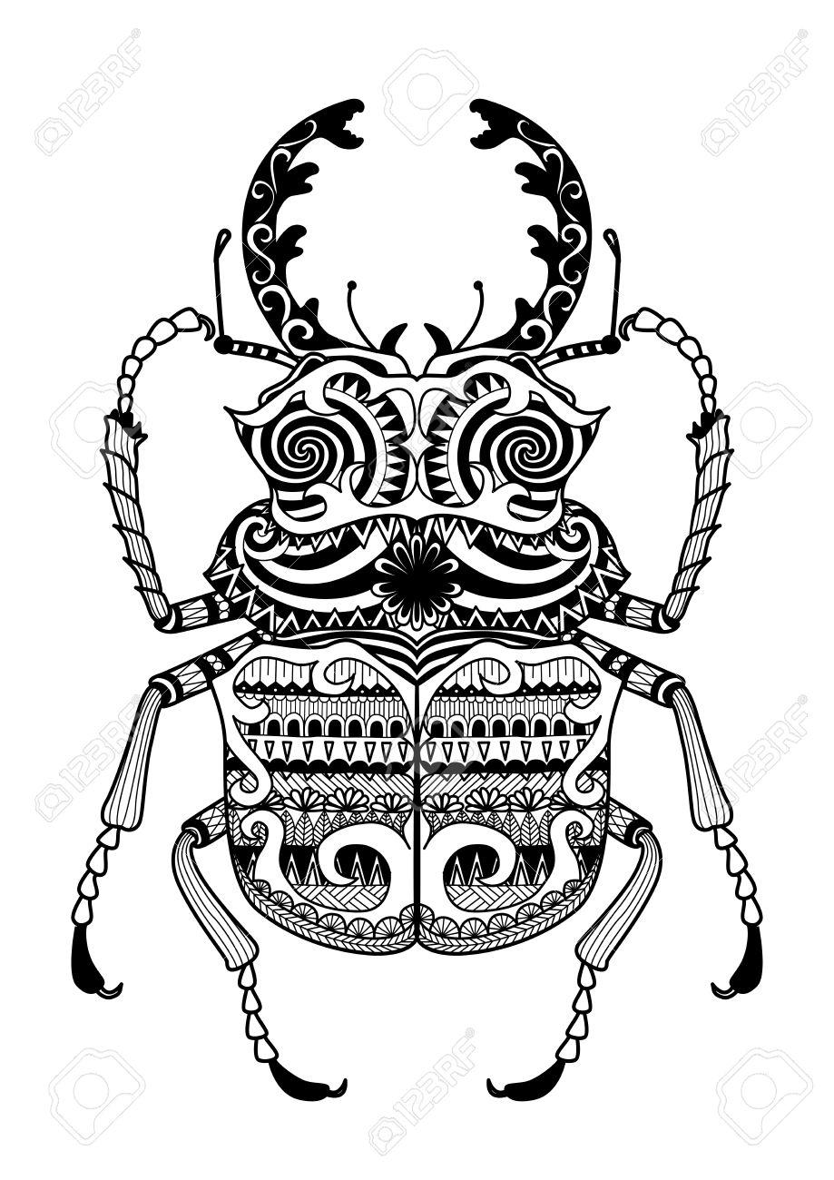 Hand Gezeichnet Zentangle Odontolabis Cuvera Bug Für Malvorlagen ...