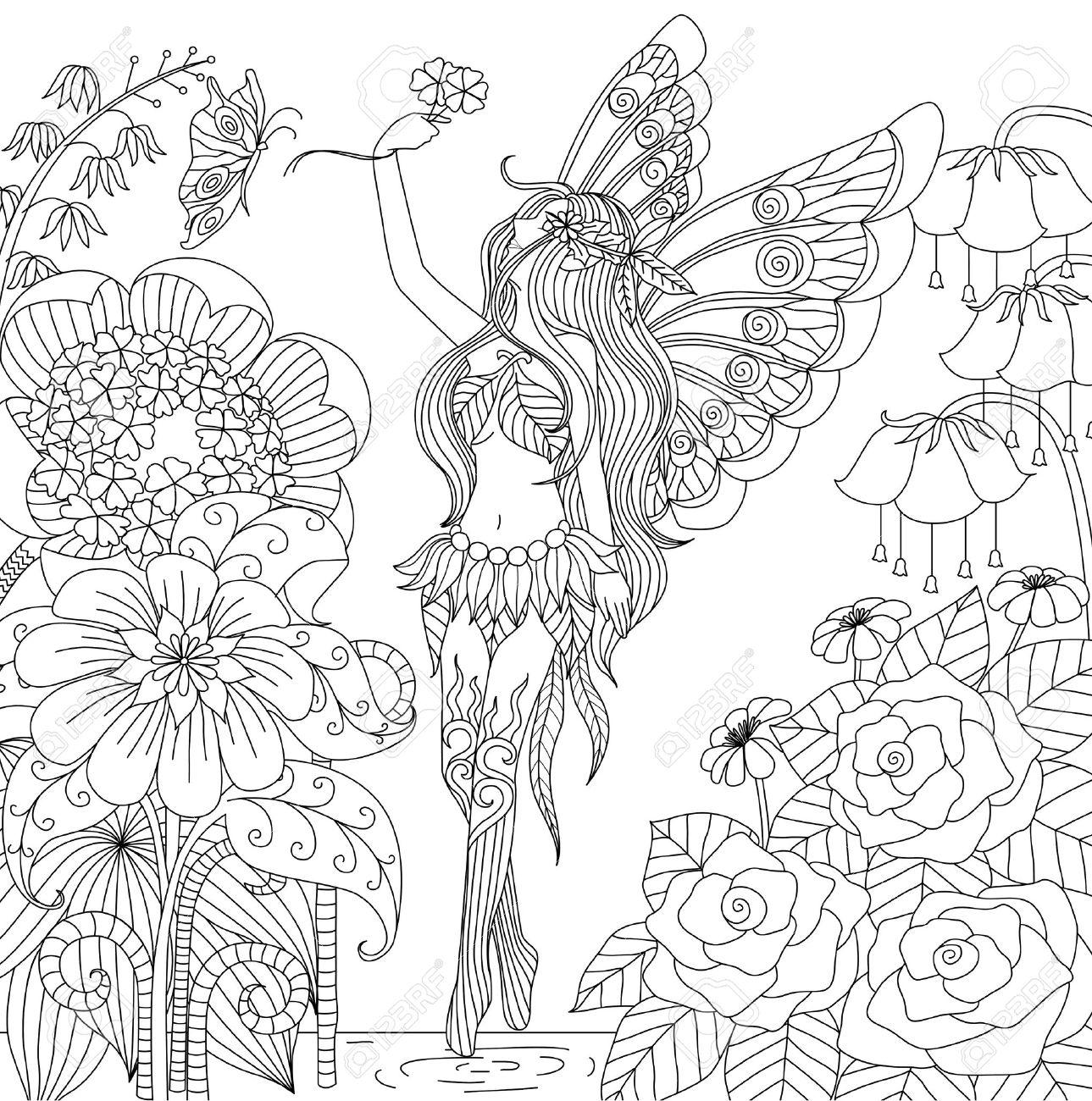 大人の塗り絵花土地を飛んで手描き下ろし妖精のイラスト素材ベクタ