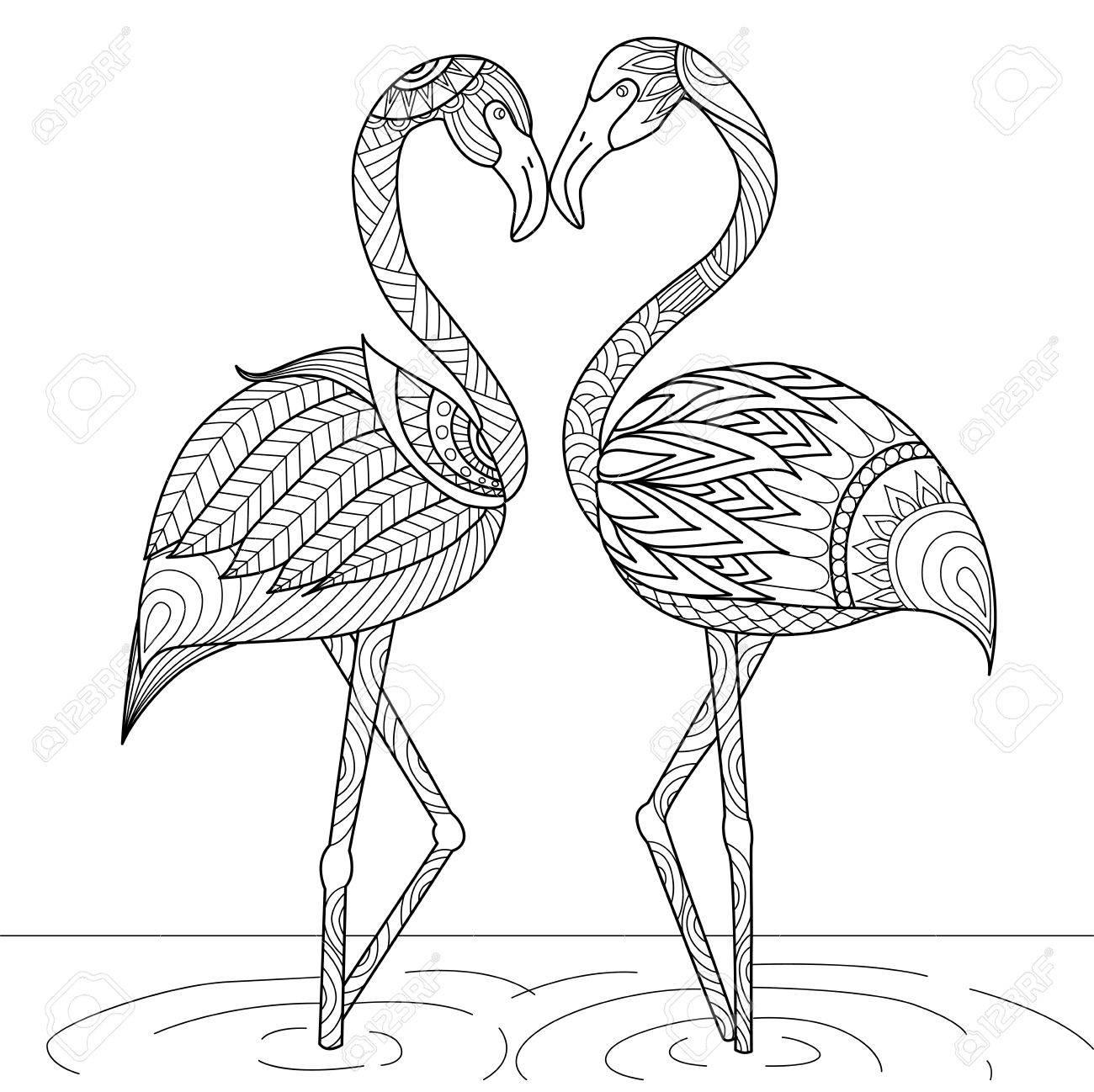 Hand Gezeichnet Flamingo Paar Stil Für Malbuch, Einladungskarte
