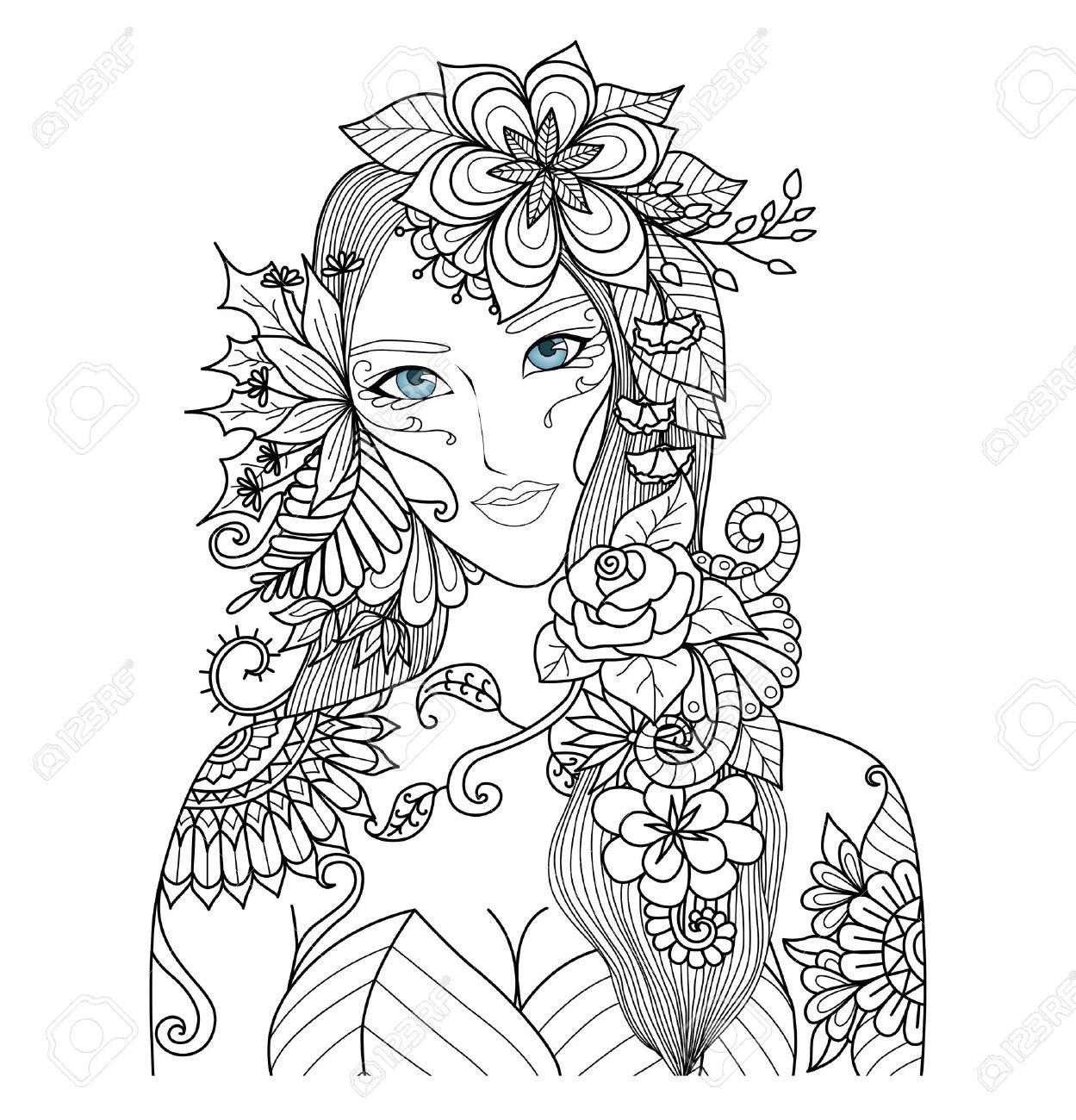 大人の塗り絵の美しい森の妖精のイラスト素材ベクタ Image 49744353