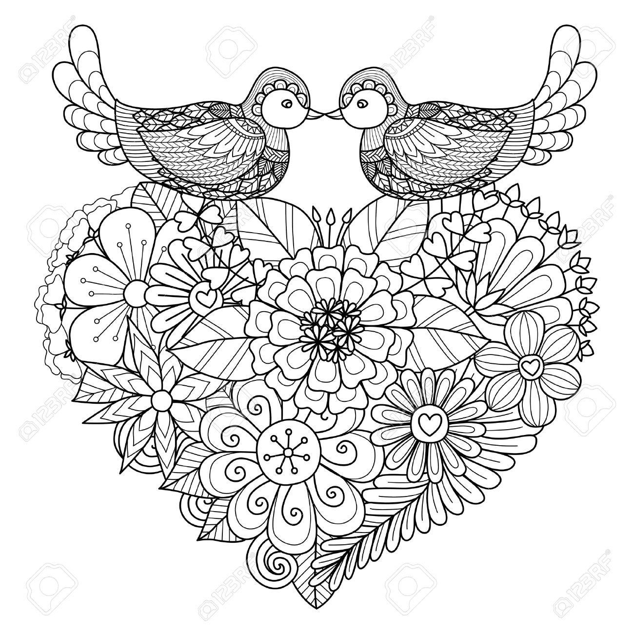 Two Birds Kissing Above Floral Heart Shape Nest For Coloring
