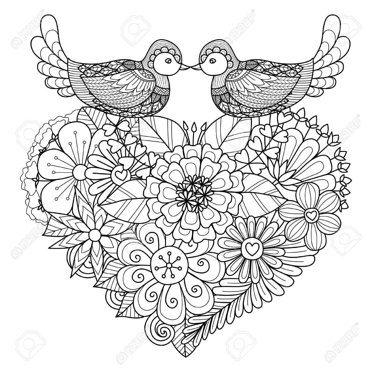 Kleurplaten Bloemen En Hartjes.Twee Vogels Kussen Boven Bloemen Hart Vorm Nest Voor De Kleurplaat En Andere Decoraties