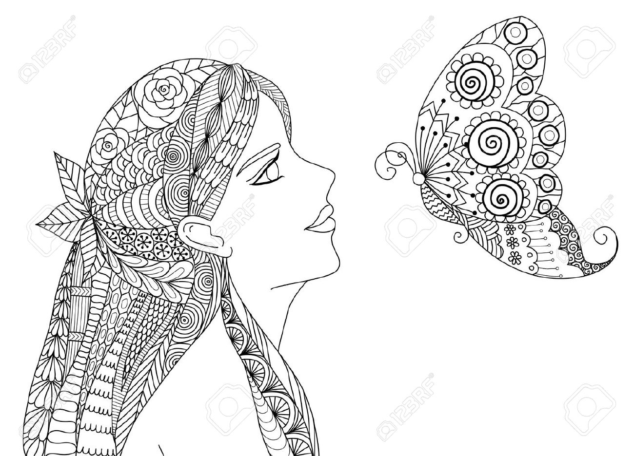 Coloring book for girl - Pretty Girl Looking At Flying Butterfly Design For Coloring Book For Adult Stock Vector 50130748