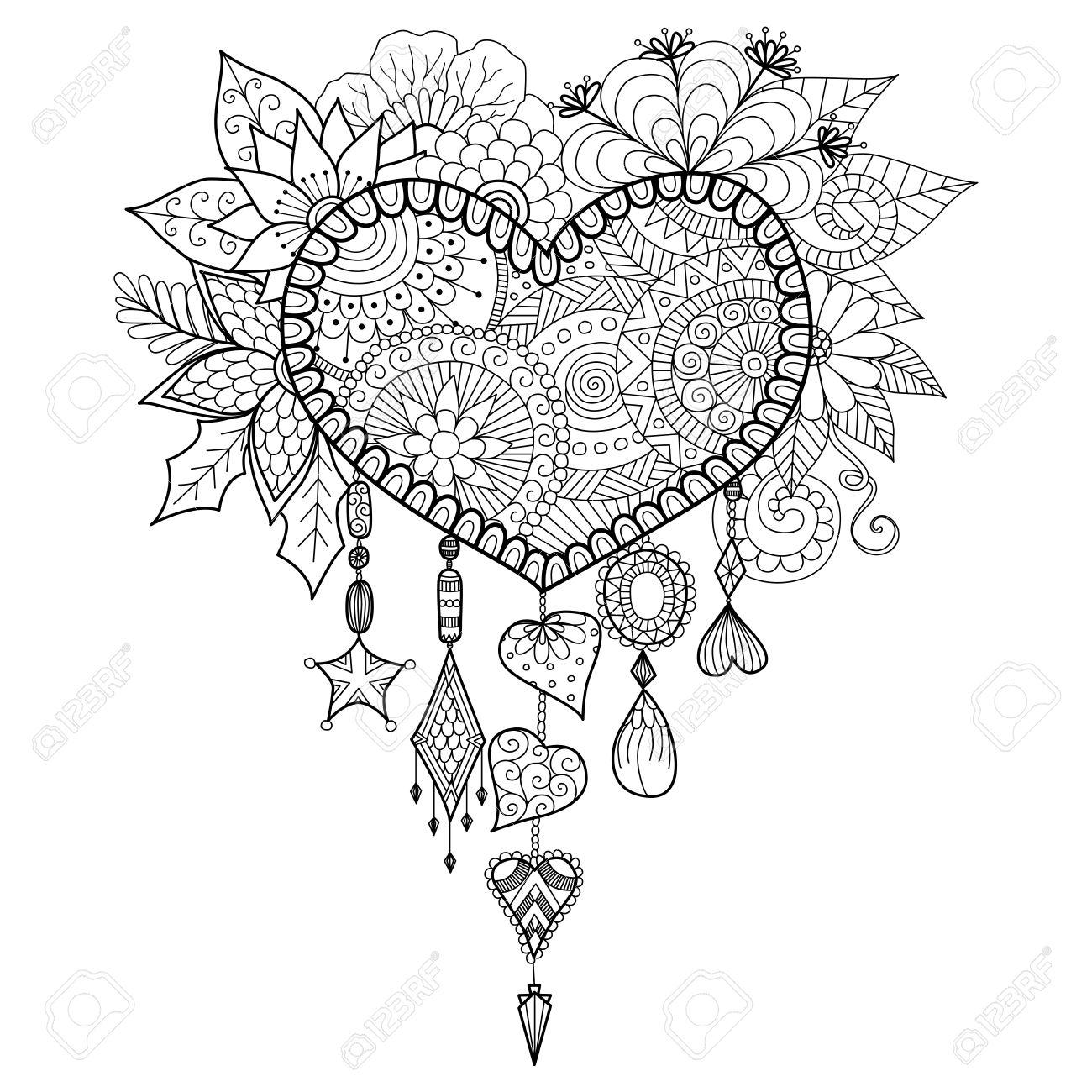 En forme de coeur dream catcher floral pour le livre de coloriage pour les adultes Banque