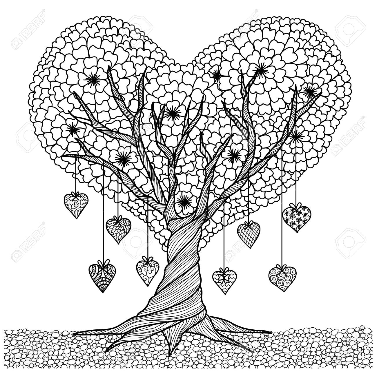 Hand Drawn Heart Shape Tree For Coloring Book For Adult Royalty Free ...