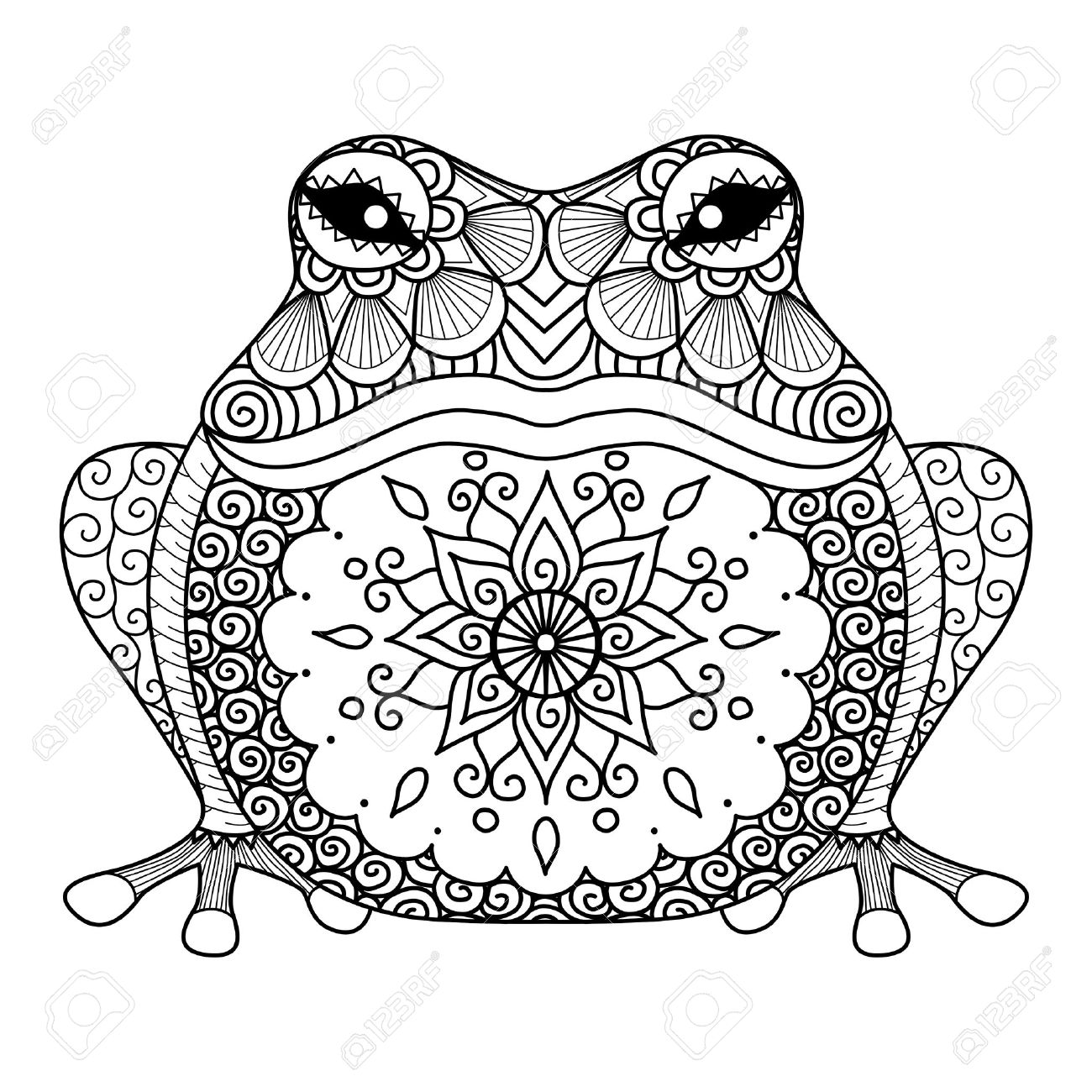 Diseño De La Rana Para Colorear Ilustraciones Vectoriales, Clip Art ...