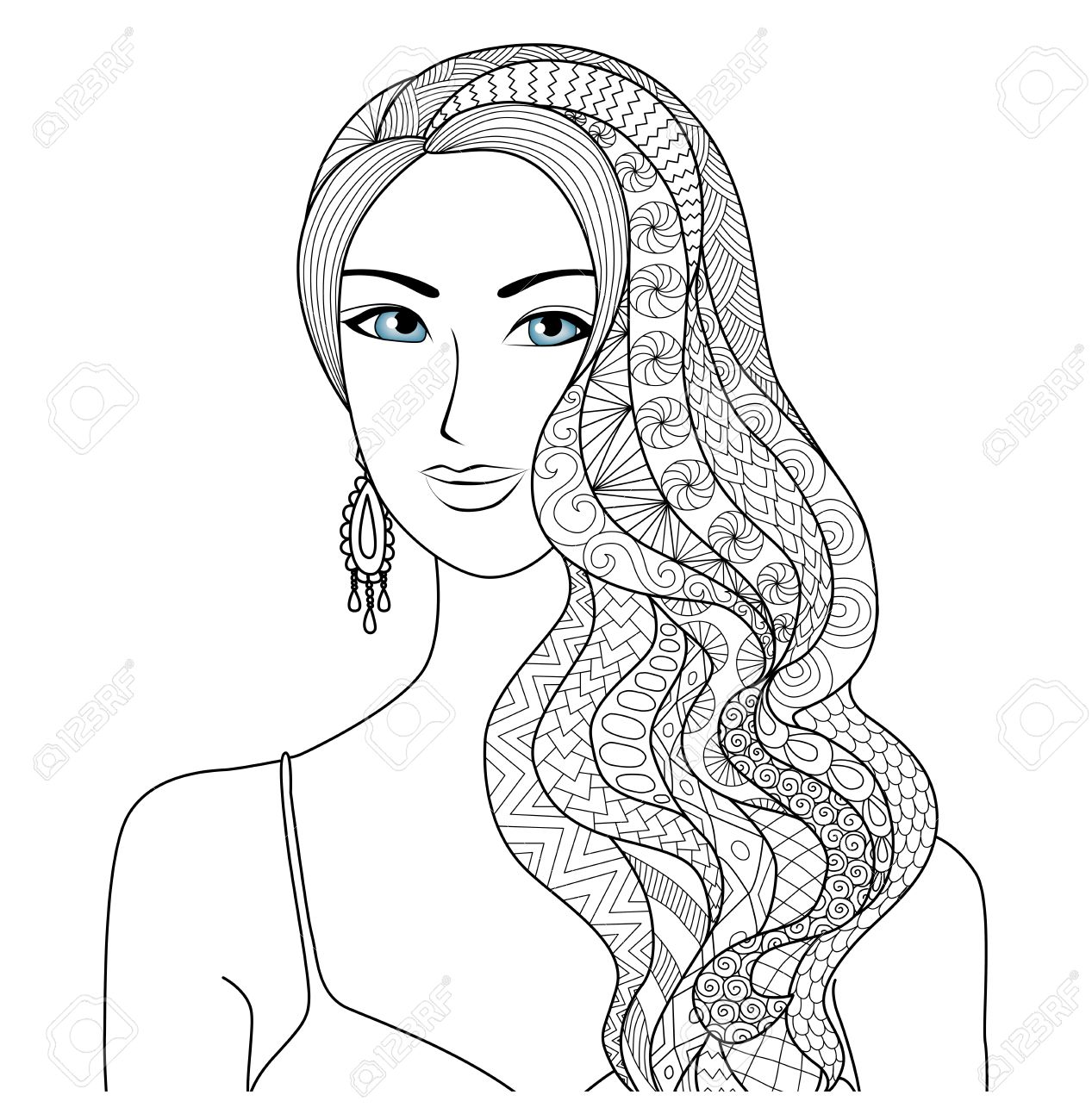 drawing sexy woman zentangle hair style for coloring book for adult stock vector 51197224 - Sexy Coloring Book