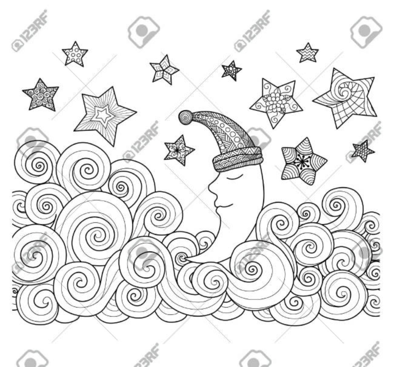 Luna El Dormir Con Las Estrellas Zentangle Diseño De Libro De Colorear Para Adultos