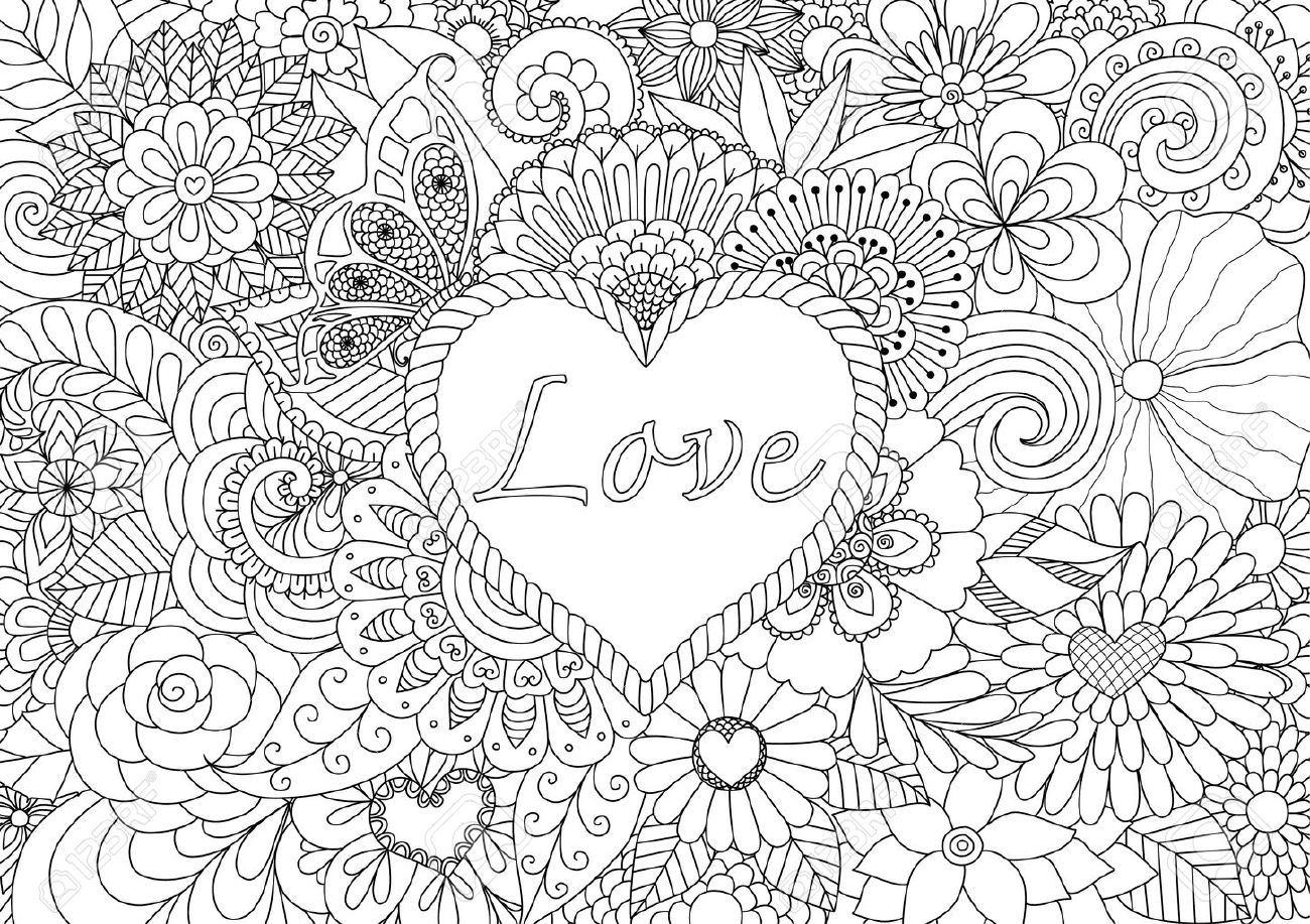 Heart On Floral Background For Coloring Book For Adult Royalty Free ...