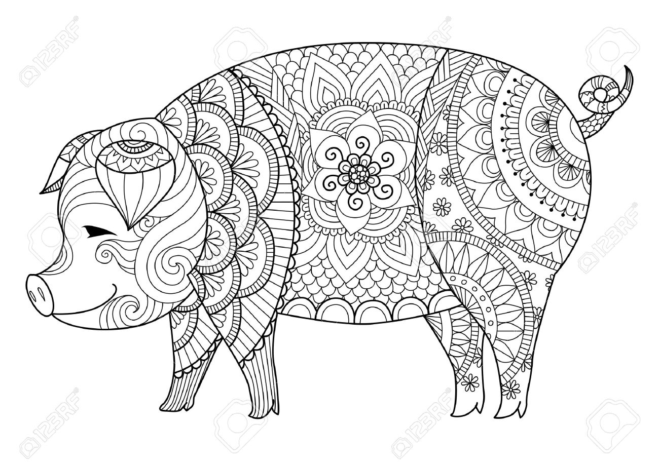 Drawing Pig For Coloring Book For Adult Or Other Decorations Royalty ...