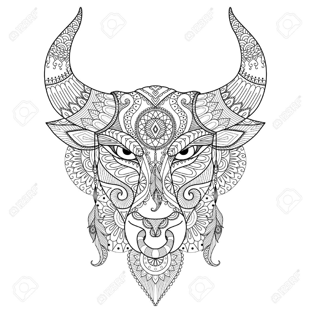 Dibujo Enojado Del Toro Para Colorear Tatuaje Diseño De La Camiseta Y Otra Decoración