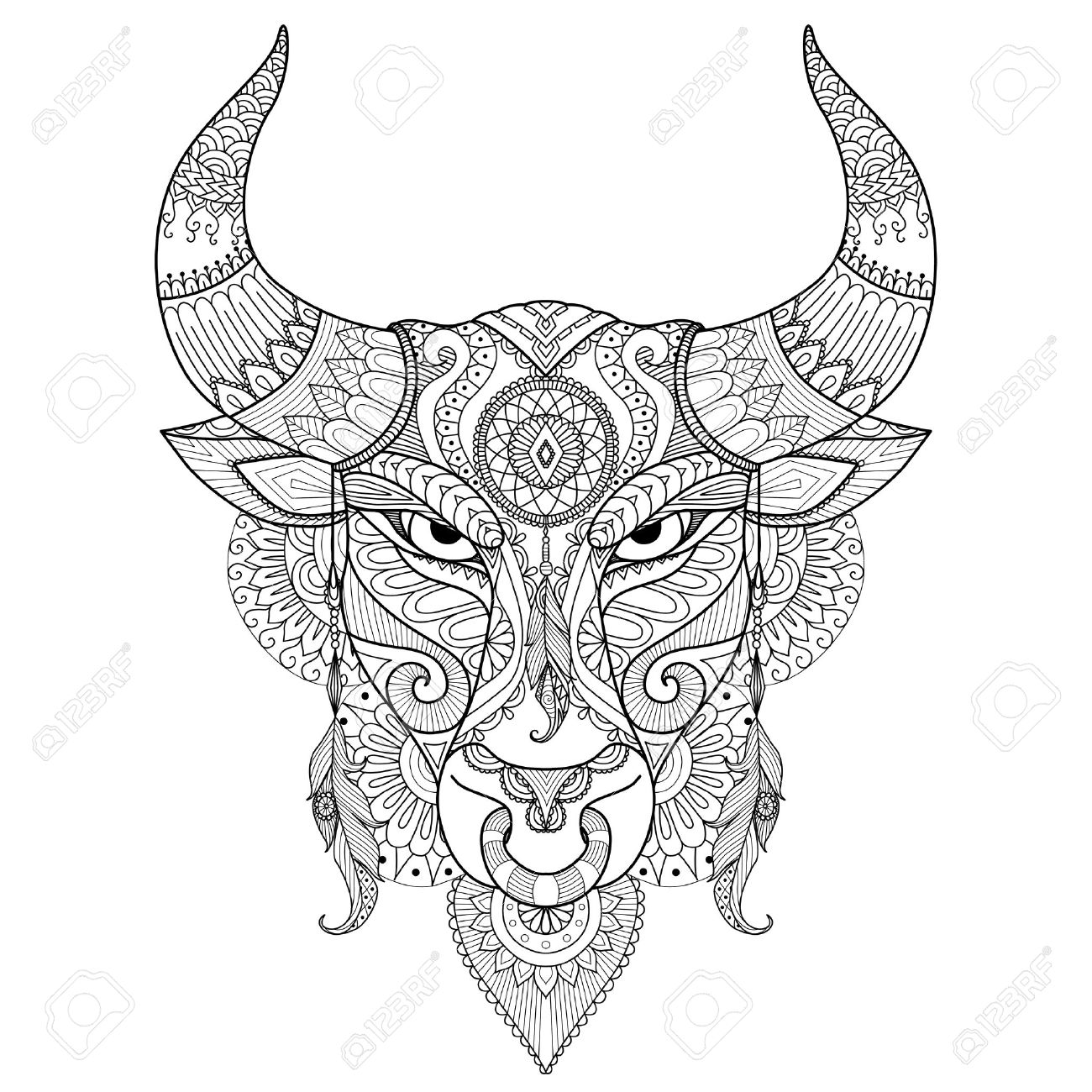 Drawing angry bull for coloring book tattoo T shirt design and other decoration Banque