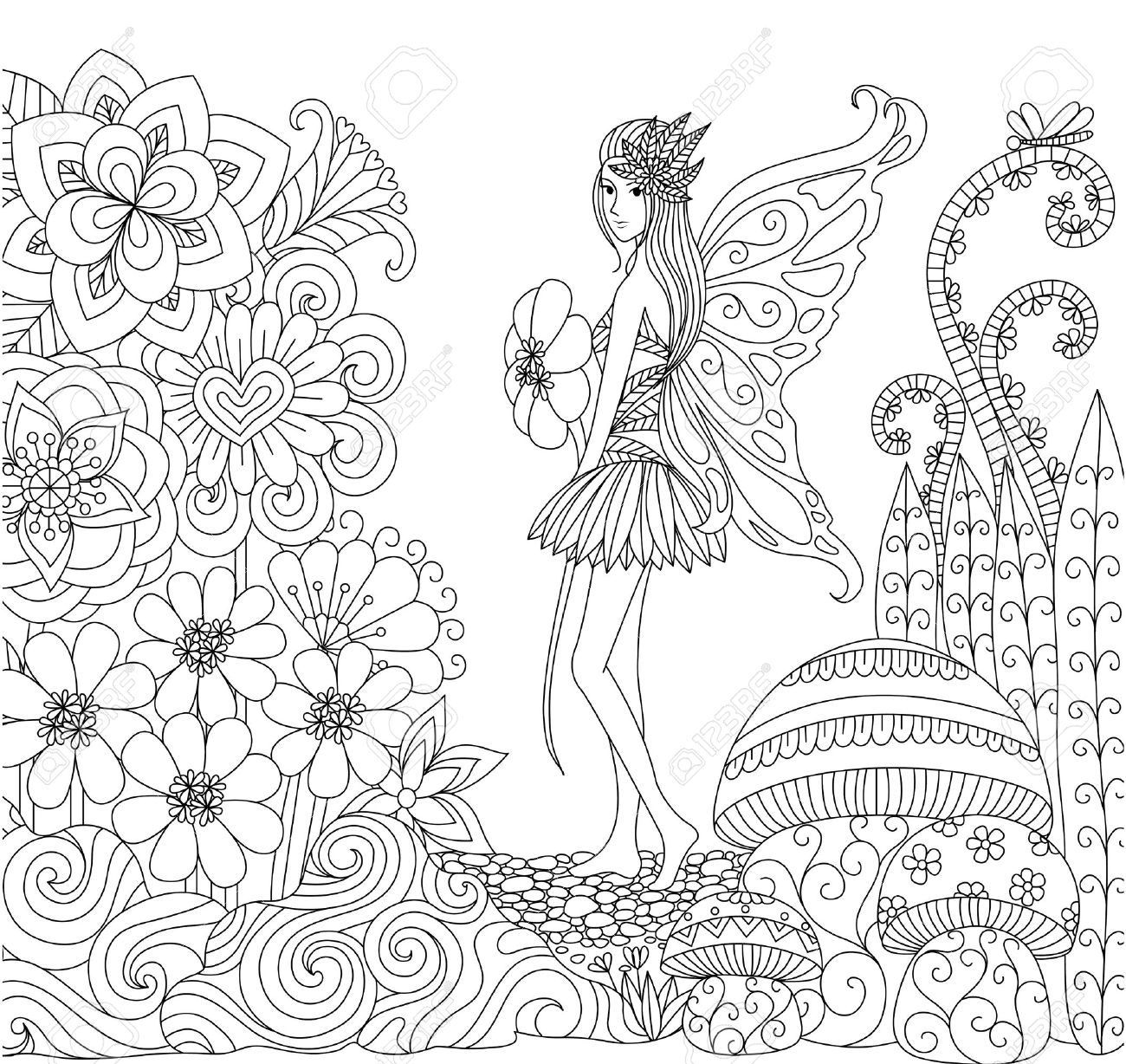 Hand Drawn Fairy Walking In Flower Land For Coloring Book For ...