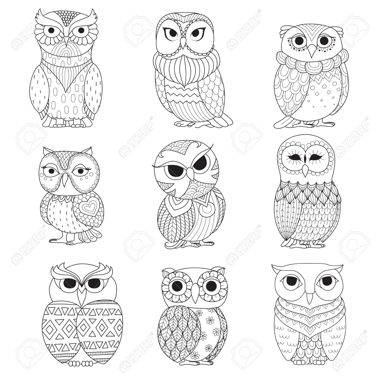 Nine Owls Design For Coloring Book, Tattoo, Shirt Design And ...