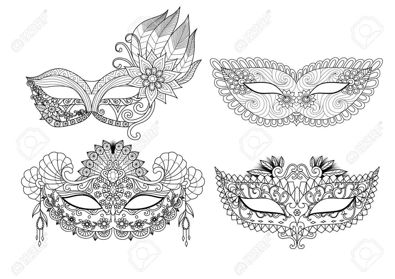 Diseños De Máscaras De Carnaval Para Colorear Para Los Adultos ...