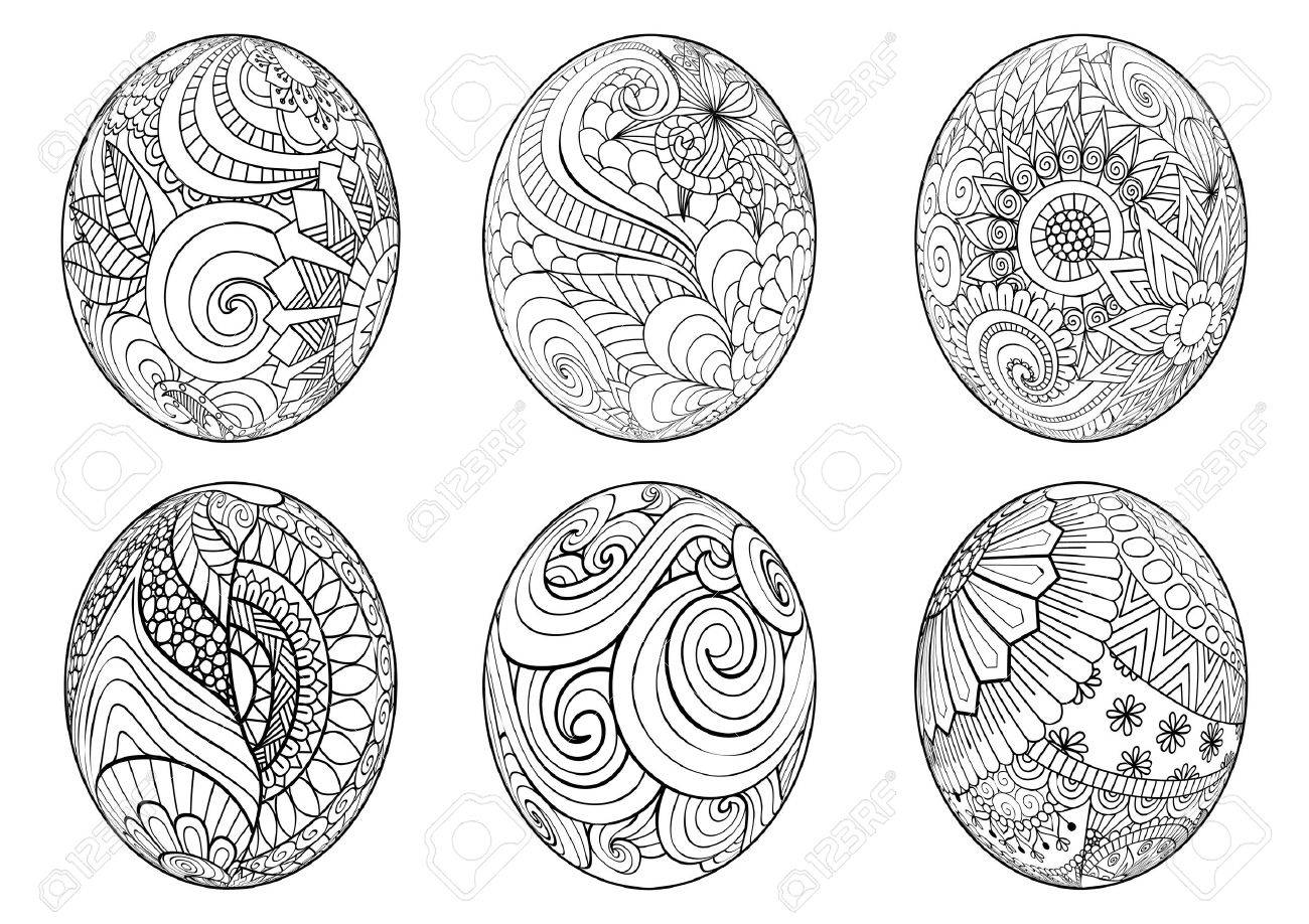 Easter Eggs For Coloring Book For Adult Royalty Free Cliparts ...
