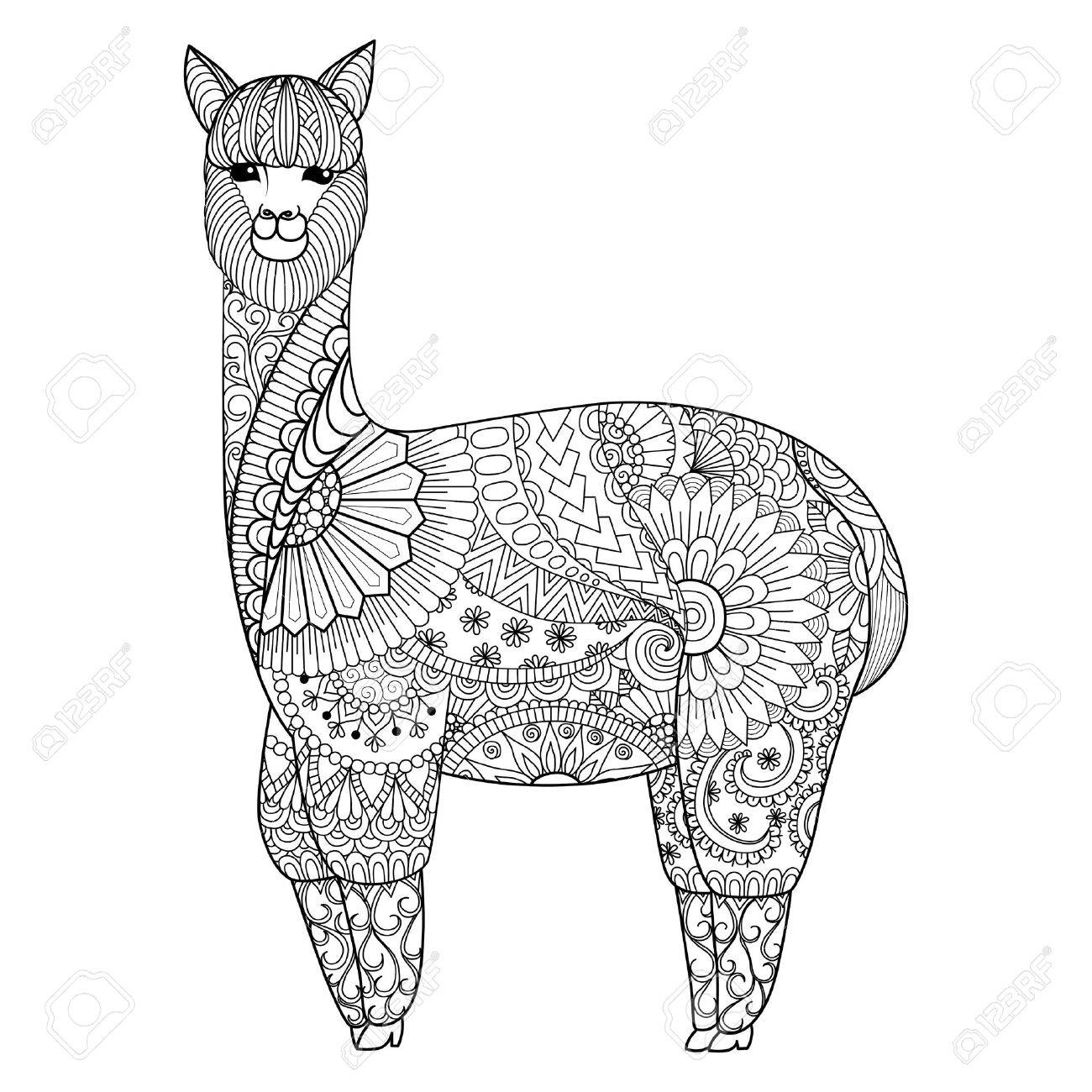 Shirt design book - Alpaca Design For Coloring Book For Adult T Shirt Design And So On Stock Vector