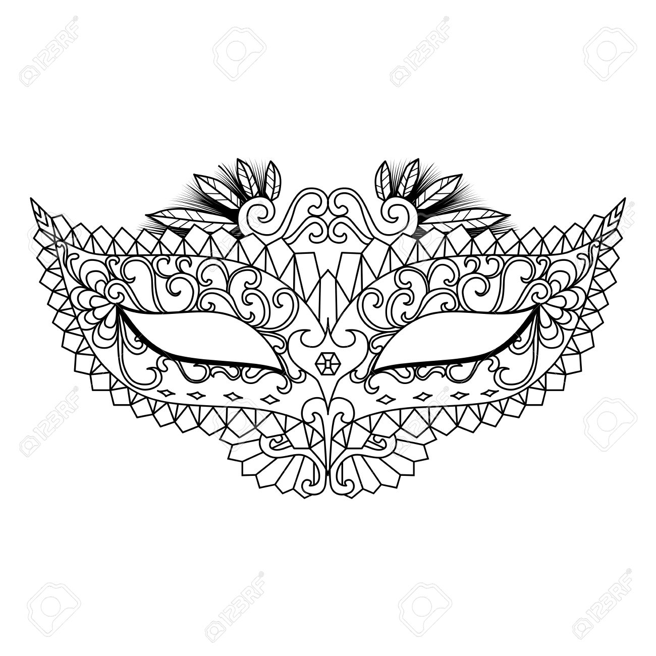 Four carnival mask designs for coloring book for adult or element..