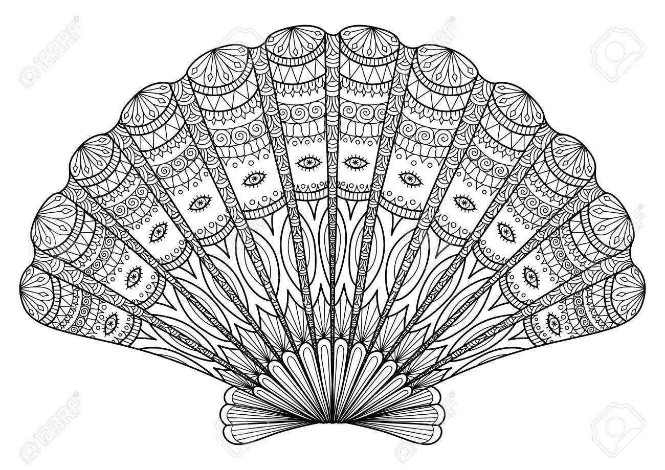 Seashell A Libro Da Colorare Tatuaggio Disegno T Shirt E Così Via