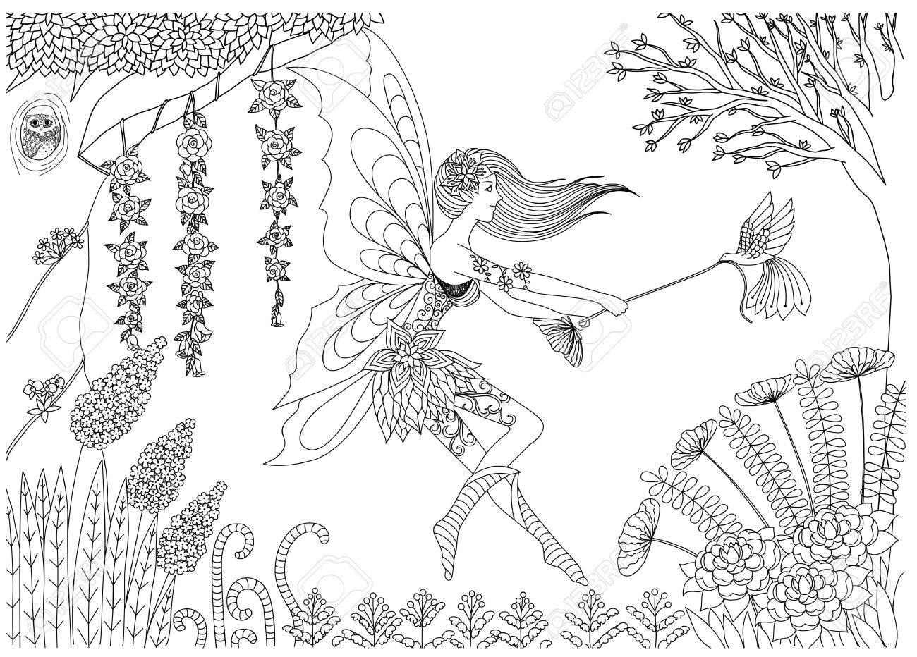 妖精が大人用の塗り絵のフォレスト設計における鳥と遊んでいますの