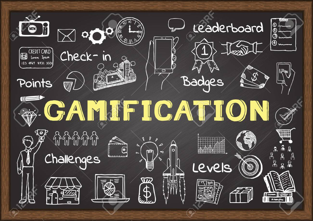 Hand drawn icons about gamification on chalkboard, marketing concept - 52854242