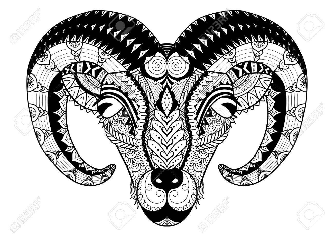 Horn sheep line art design for coloring book, t shirt design, tatoo and so on - 55209981