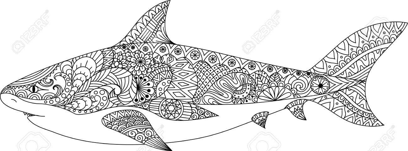 El Diseño Del Arte Línea De Tiburón Por Un Libro De Colorear Para ...