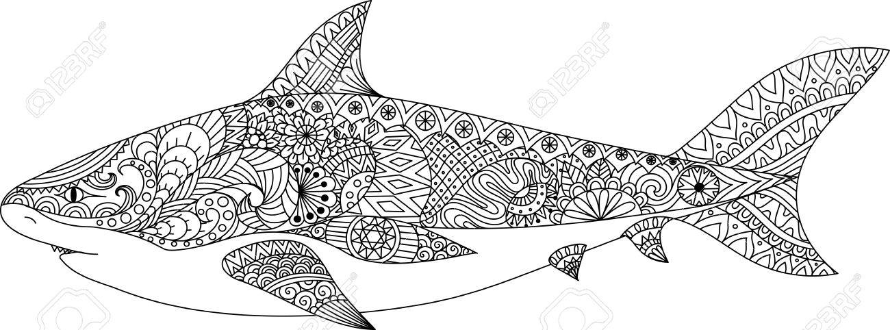 Shark Line Art Design For Coloring Book For Adult, Tattoo, T ...