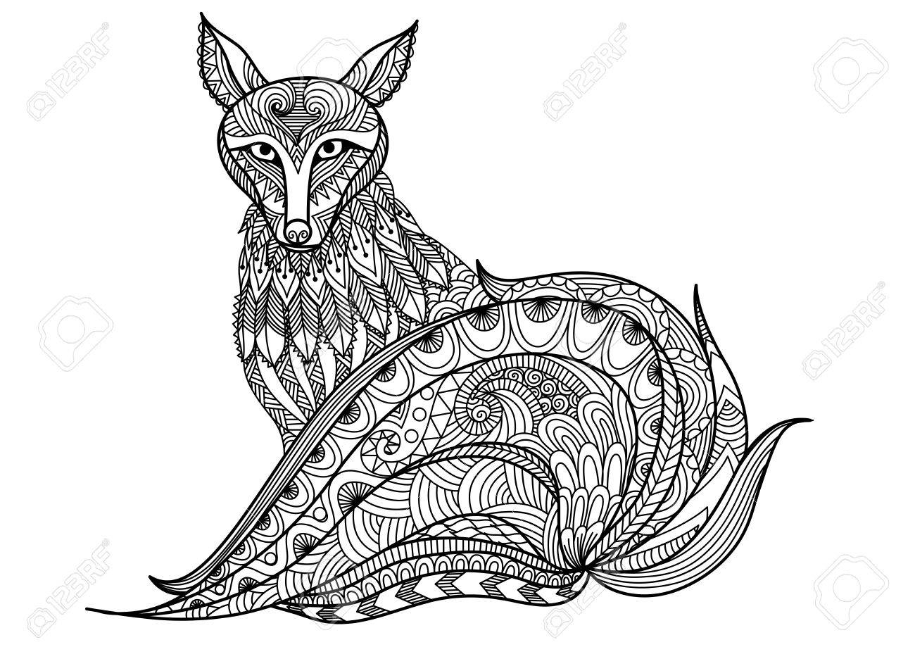 Shirt design book - Red Fox Line Art Design For Coloring Book For Adult T Shirt Design And Other