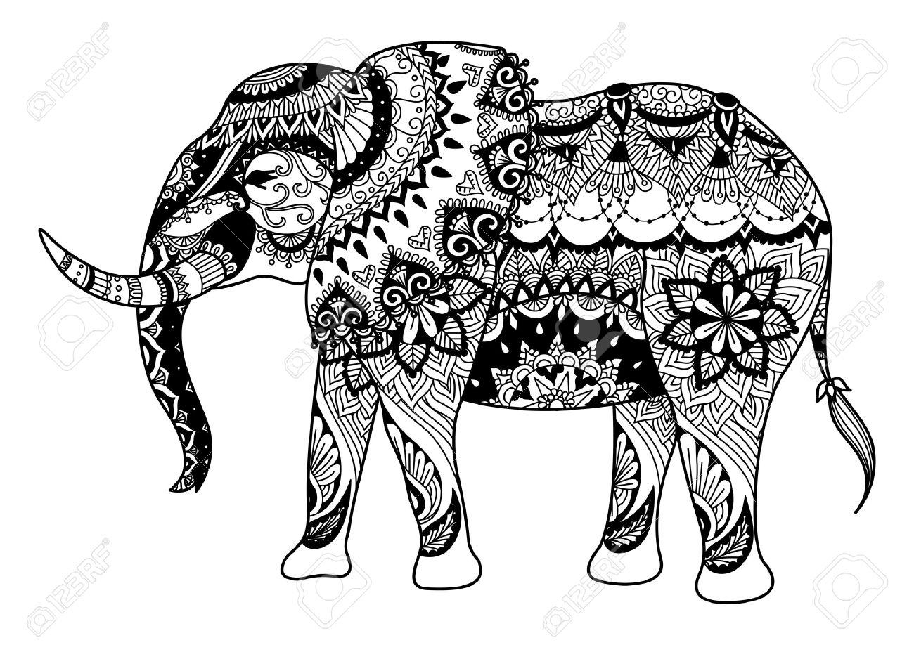 Mandala Elephant For Coloring Book Adult Tatoo T Shirt Design Stock Vector