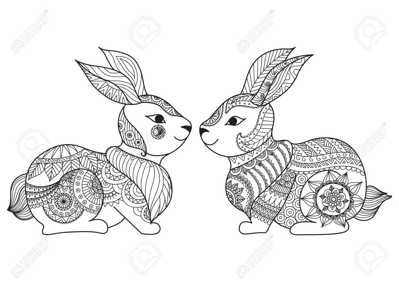 Dos Pequeño Diseño Lindo Línea Arte Del Conejo Para Colorear ...
