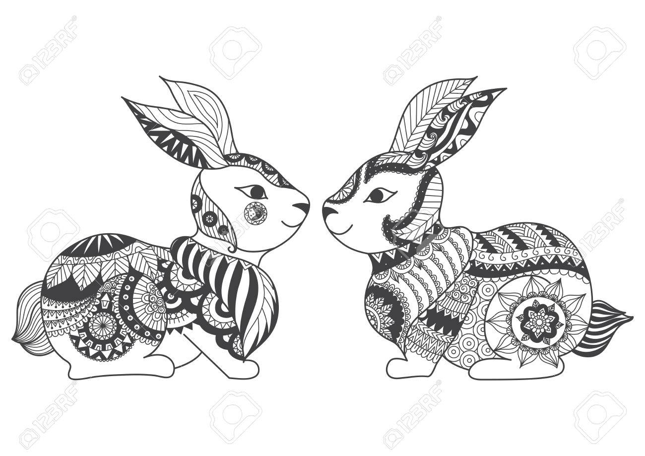 Shirt design book - Two Rabbits Zentangle Stylized For Coloring Book For Adult Tattoo T Shirt Design