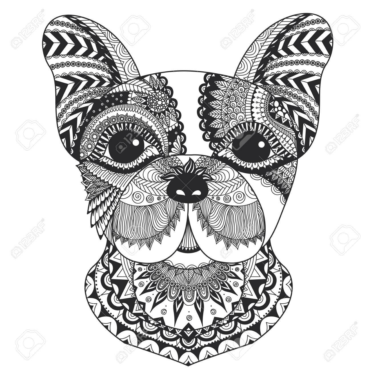 french bulldog puppy zentangle stylized for coloring book for