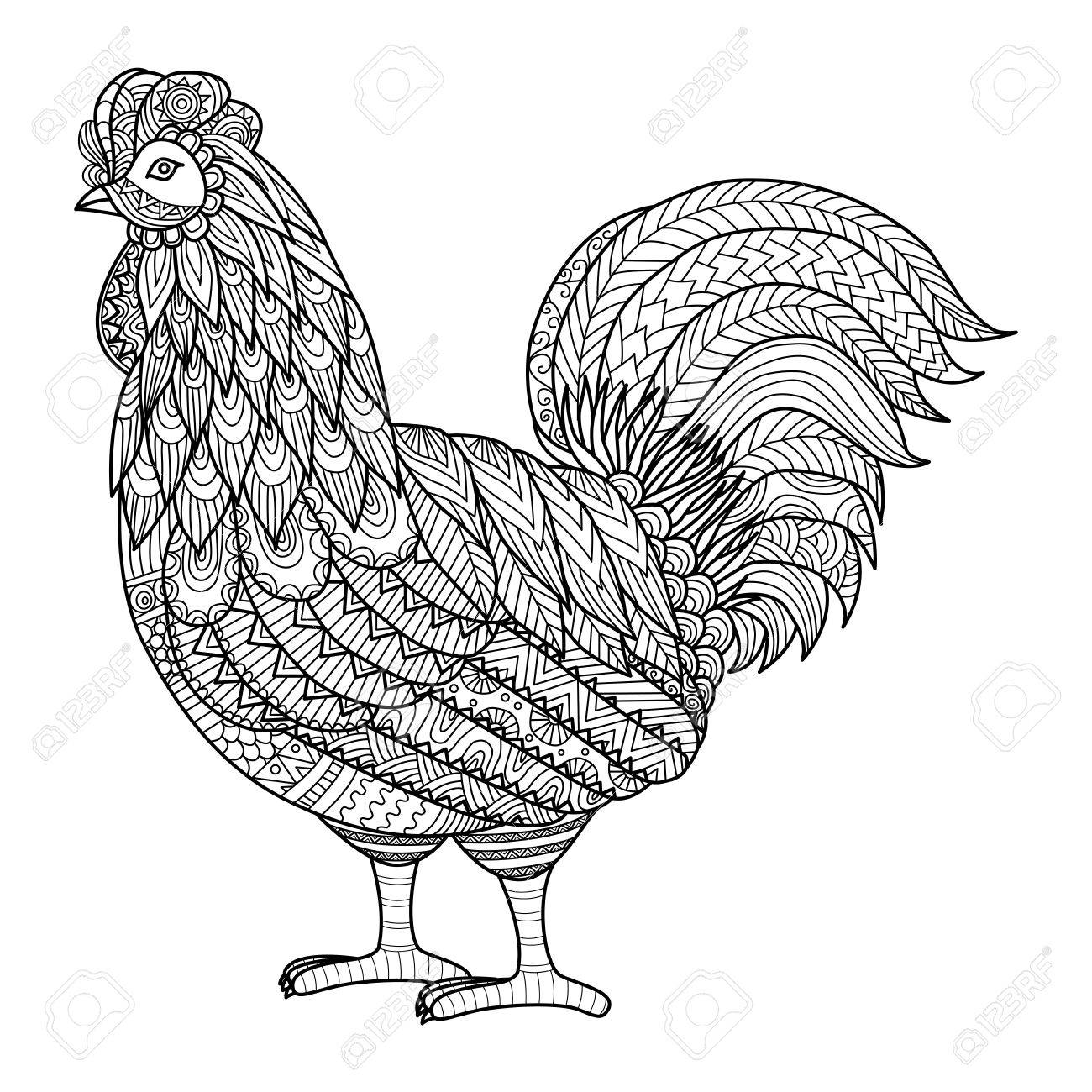 zentangle chicken for coloring book royalty free cliparts vectors