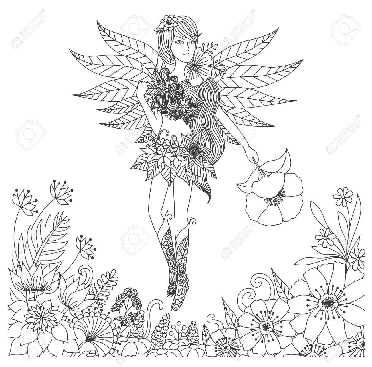 Hand Drawn Fairy Flying In Flower Land For Coloring Book For ...