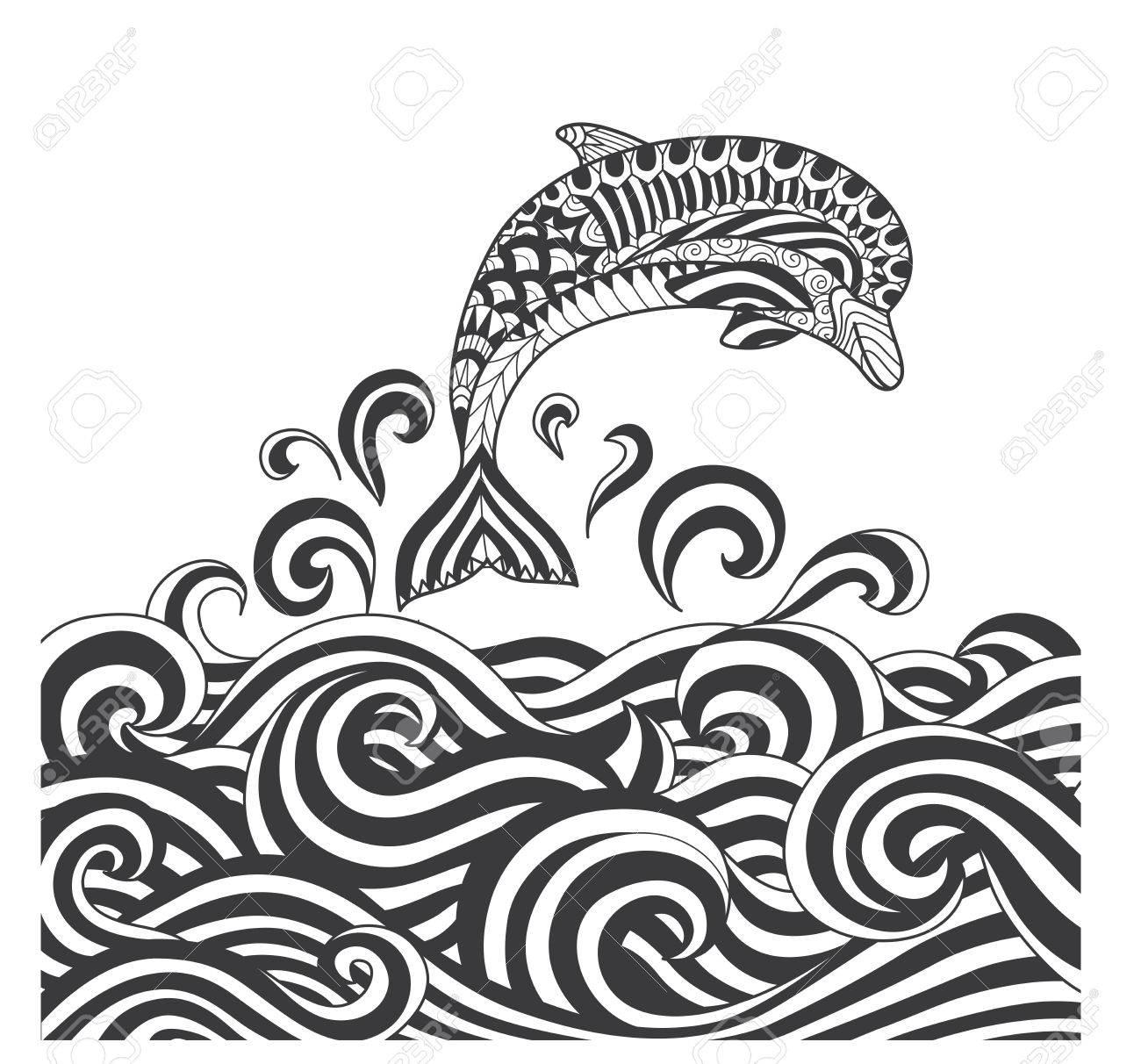 Delfines Zentangle Vector De Desplazamiento En Las Olas Del Mar Para