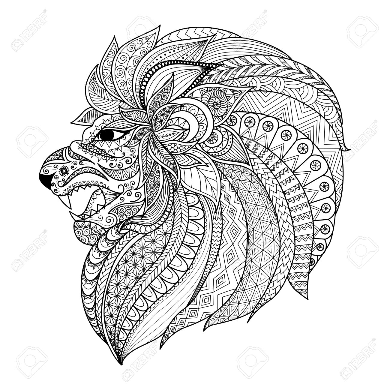 Lion Head Zentangle Stylized For Coloring Book For Adult T