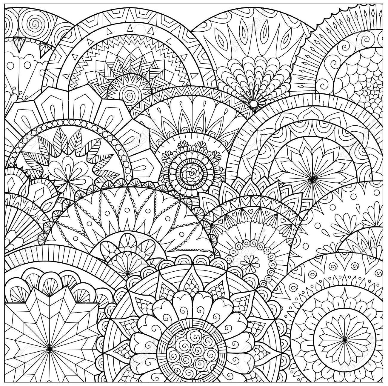 Blumen Und Mandalas Linie Kunst Für Malbuch Für Erwachsene, Karten