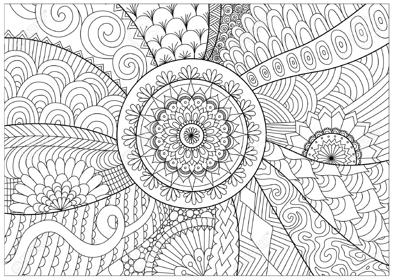 Flowers And Mandalas For Coloring Book For Adult Royalty Free ...