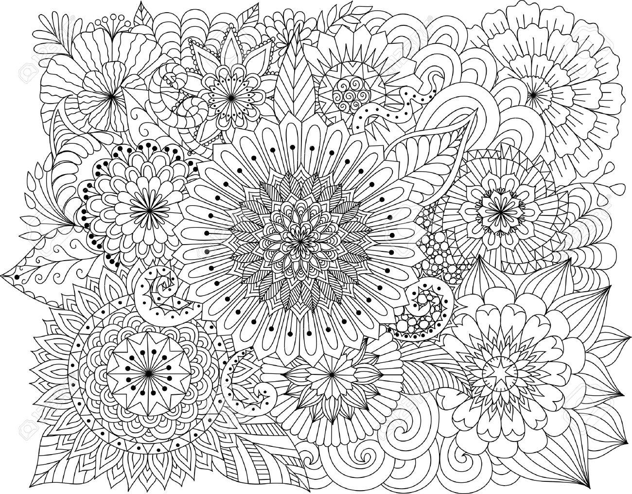 Blumen Und Mandalas Zum Ausmalen Für Erwachsene Lizenzfrei Nutzbare ...