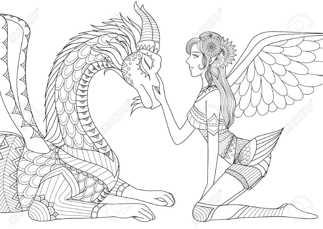 Fairy With Dragon For Coloring Book Adult Stock Vector