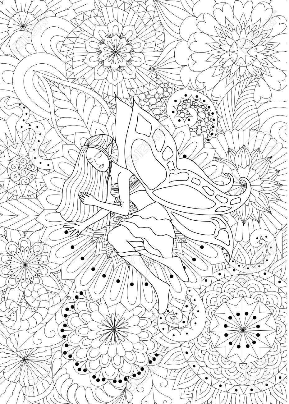 大人の塗り絵の花ライン アート デザインで寝ている妖精