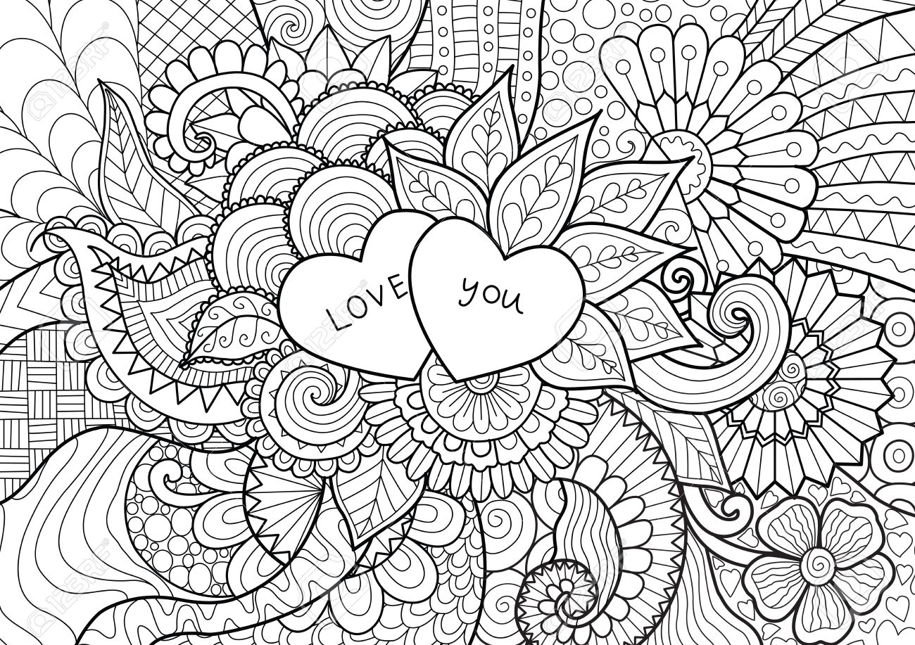 Two hearts with words LOVE YOU laying on flowers , for coloring..