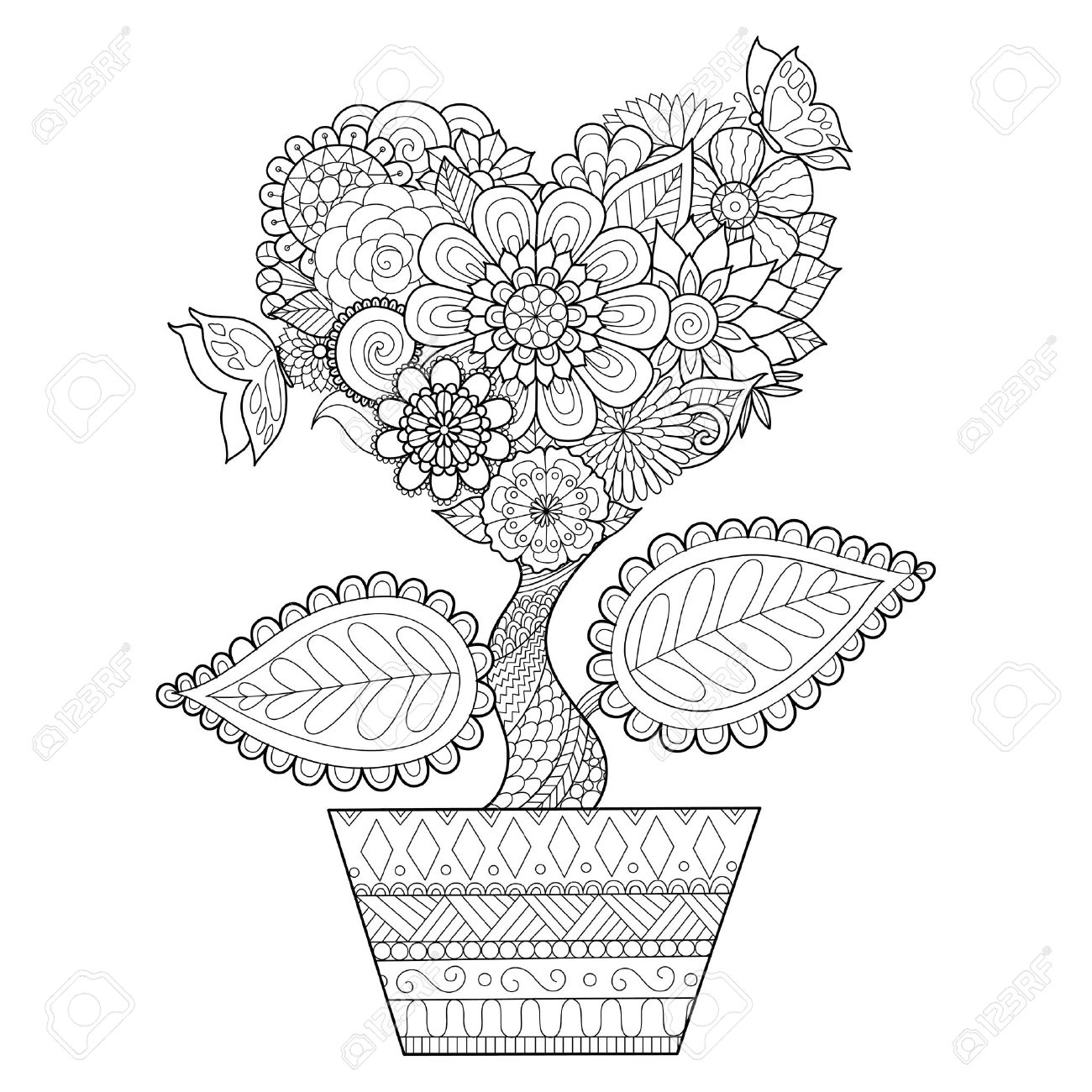 Flowers In Heart Shape On A Pot , For Coloring Book For Adult ...